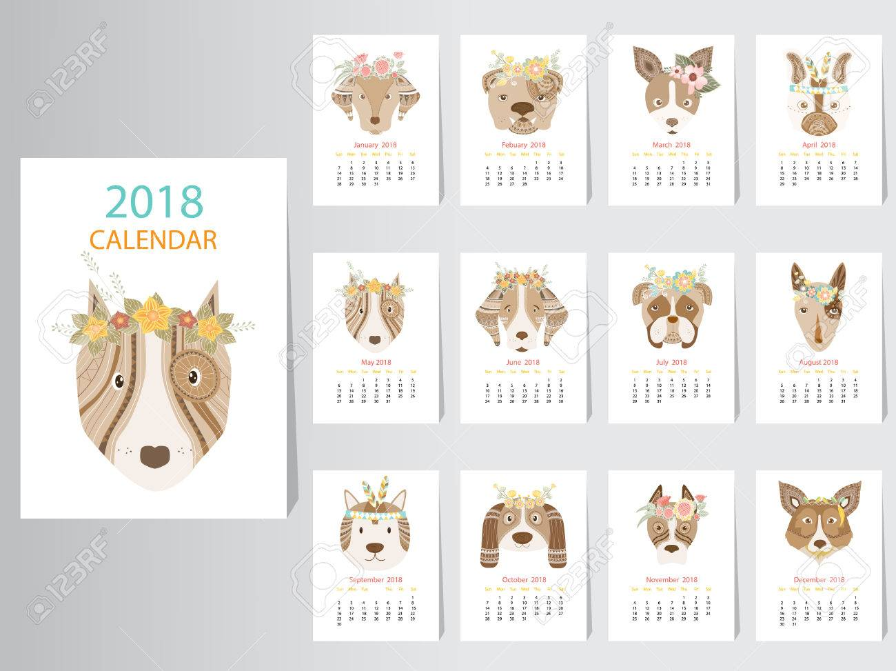 collection of portrait dog calendar 2018 design the year of the