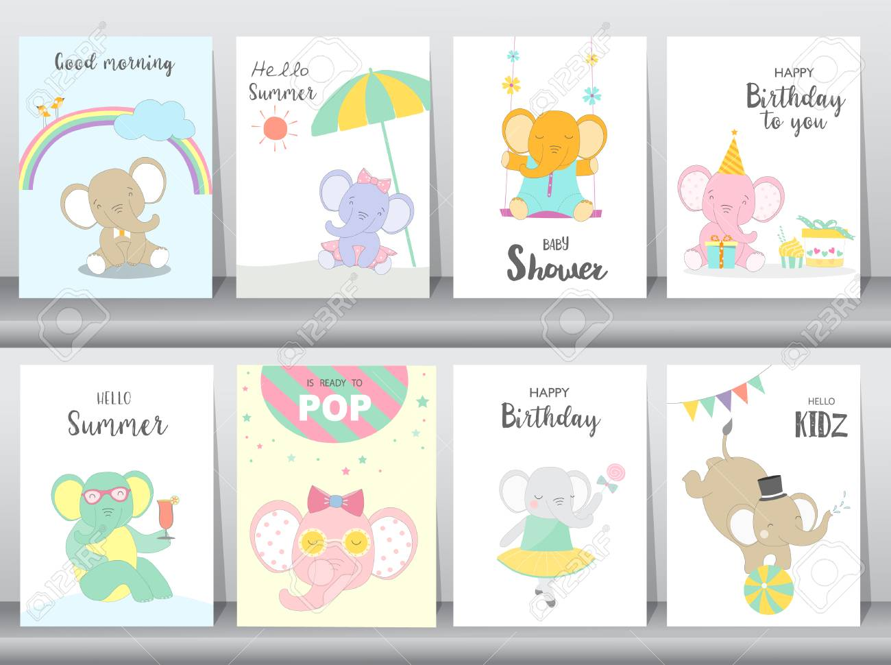Set Of Baby Shower And Happy Birthday Invitations Cards Poster Greeting Template