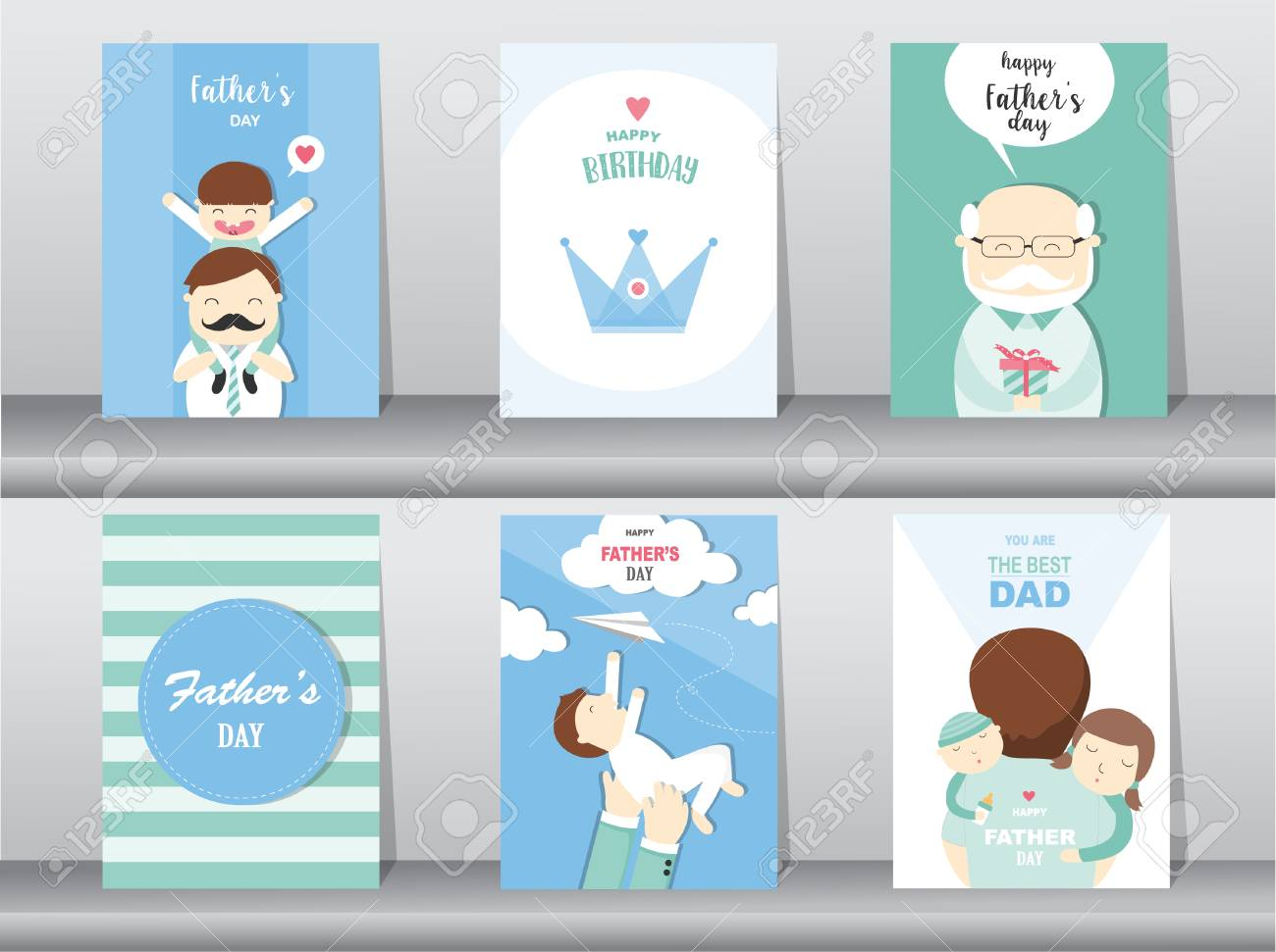 Set Of Happy Fathers Day Card Postertemplategreeting Cardsson