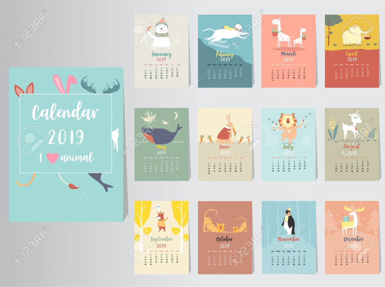 Cool Calendars 2019 Cute Animal Calendar 2019 Design,The Year Of The Pig Monthly