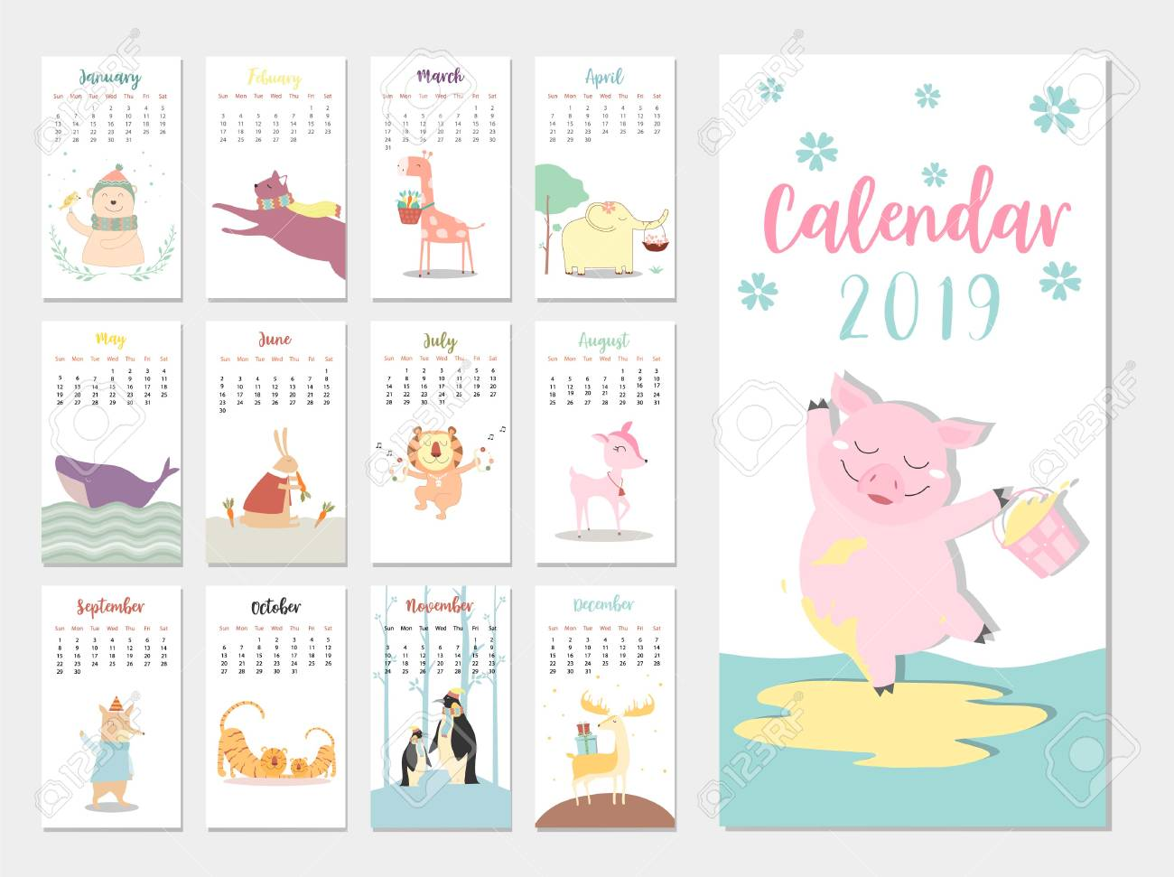 cute animal calendar 2019 design the year of the pig monthly