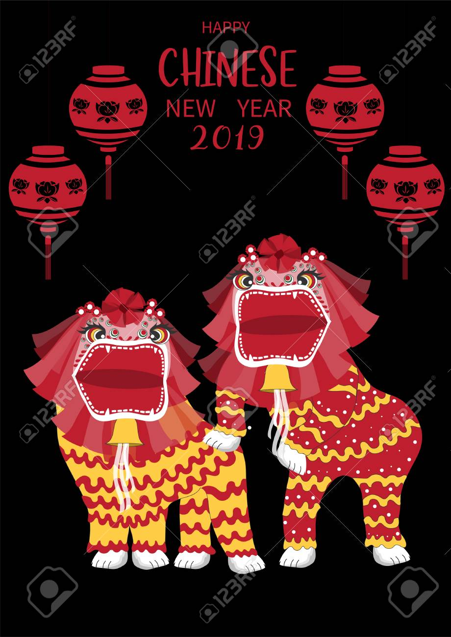 Chinese lion dance for Chinese new year 2019,Craft style, cards,