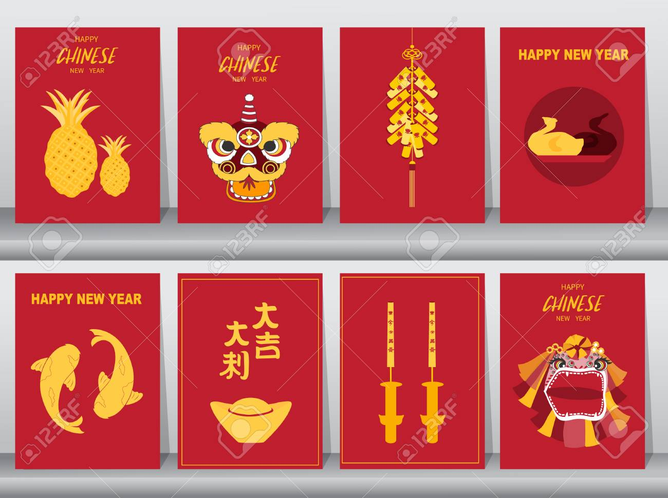 Collection of chinese new year 2019,Craft  style,cards,poster,template,greeting