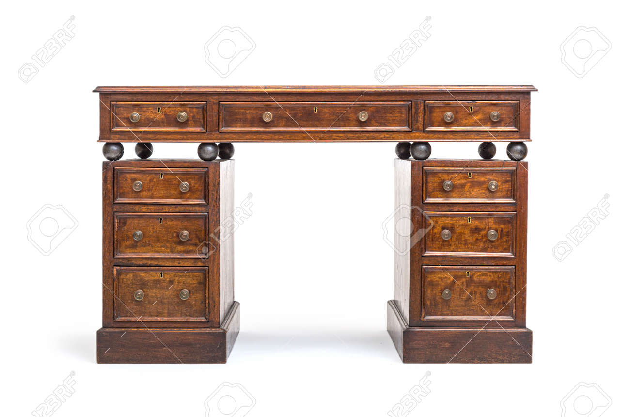 Old renovated desk with drawers and steel balls - 171049450