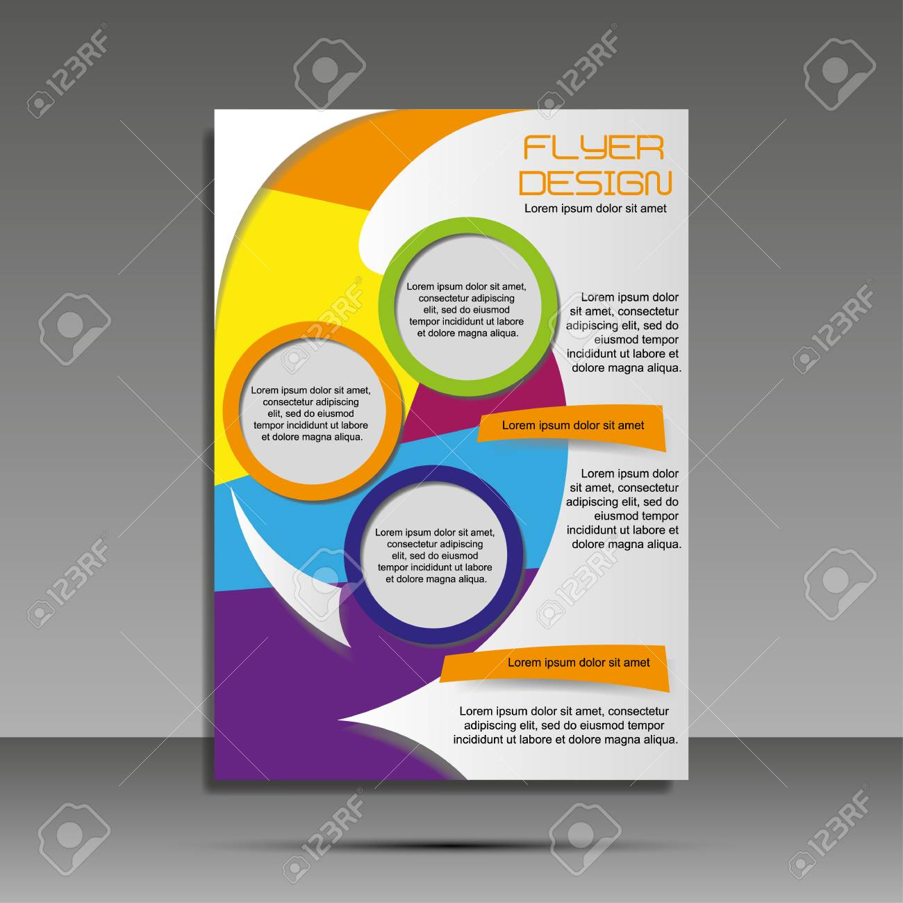 A4 minimal color design. Annual report, brochure, banner, idea cover booklet flyer - 125196694