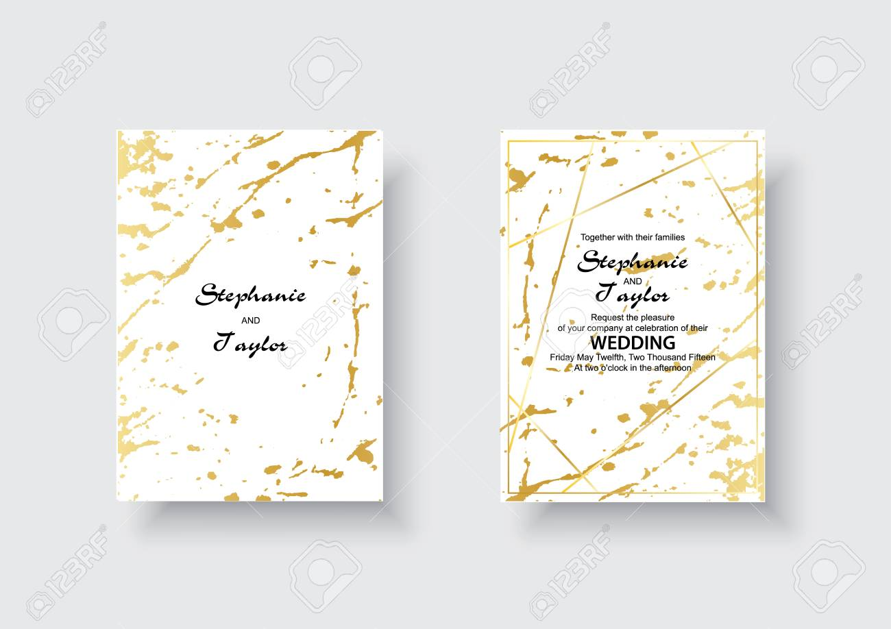 Wedding Cards With Marble Texture And Gold Design For Cover