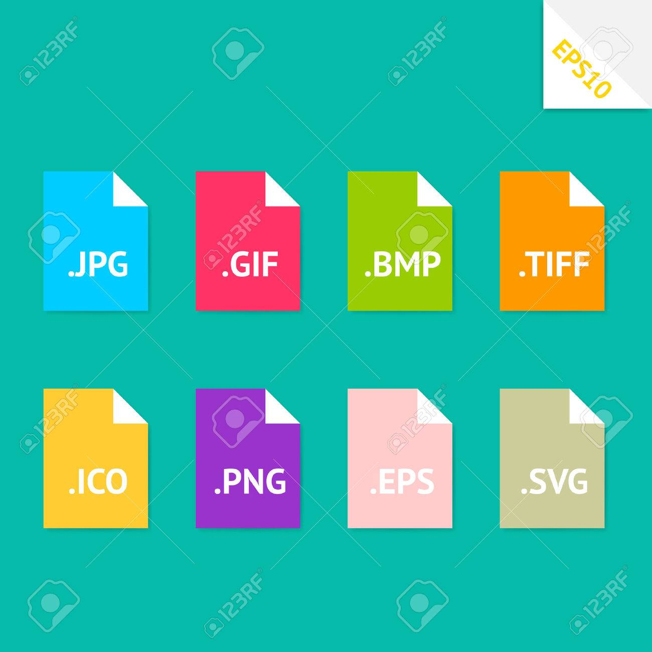 Set of beautiful flat icons with popular image file formats Stock Vector - 28259237