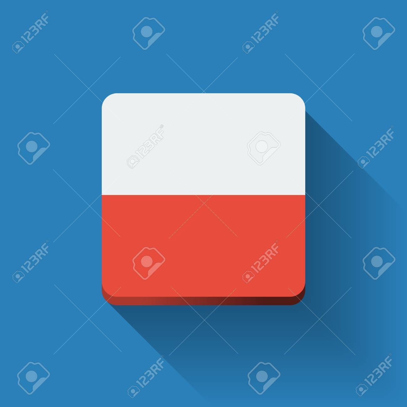 isolated square button with national flag of poland flat design