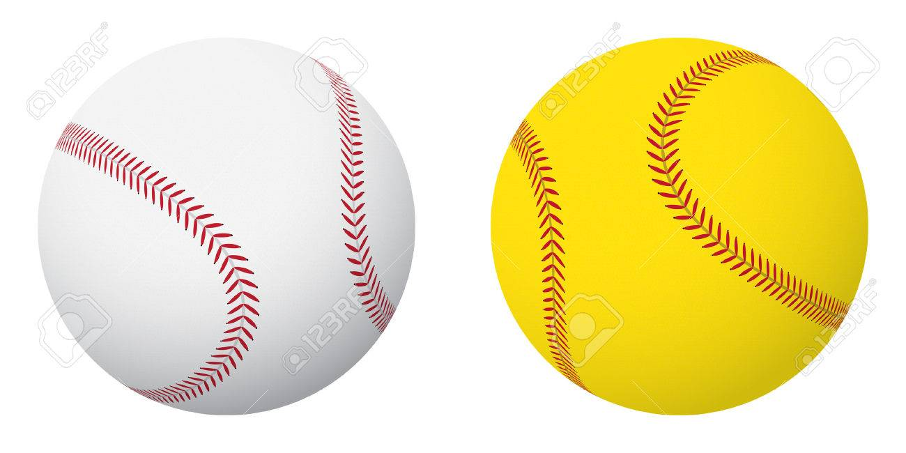 スポーツ ボール 野球とソフトボール小さなセットですのイラスト