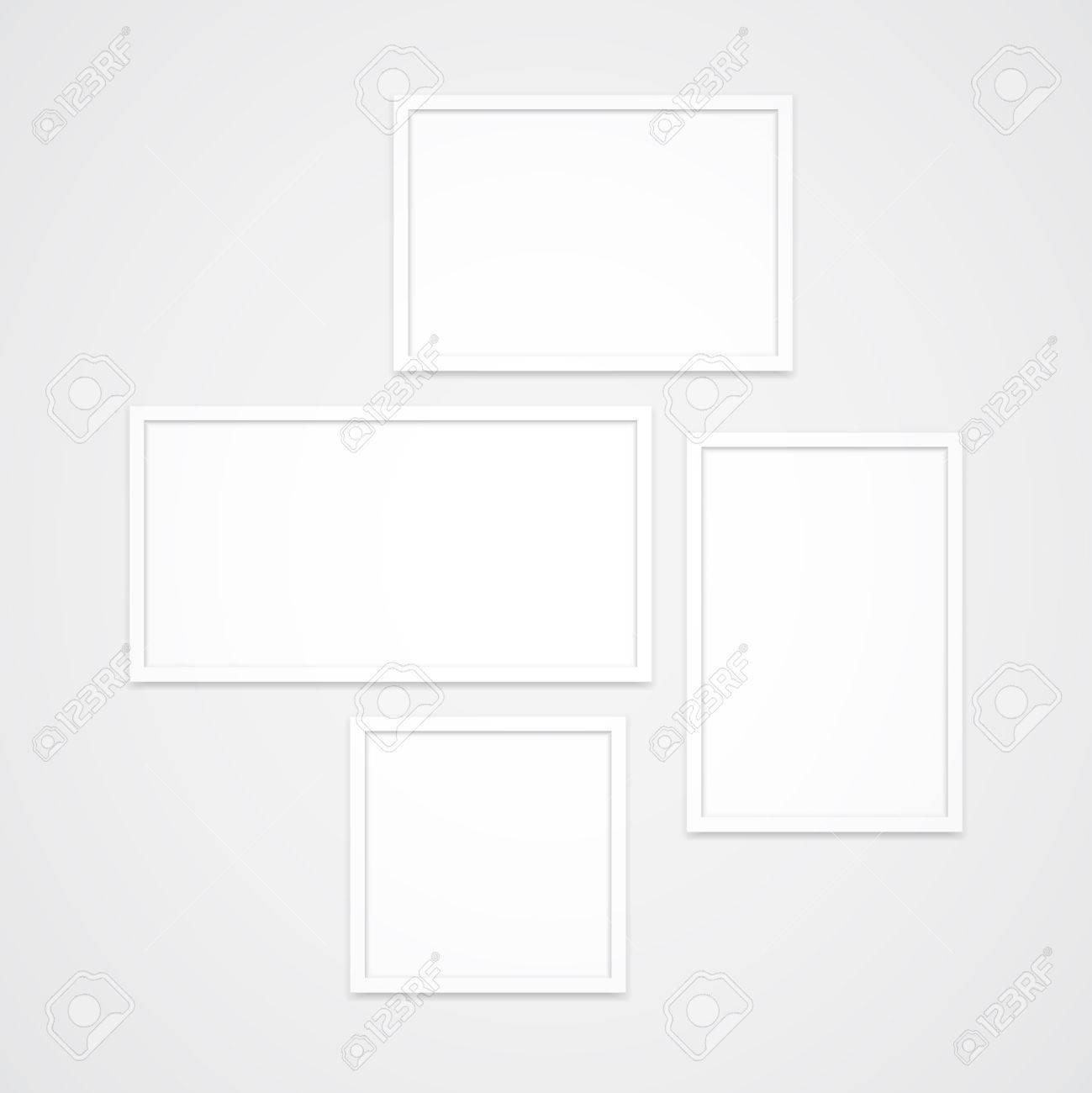 Satz Von Hoher Qualität Sauberen Weißen Vektor-Fotorahmen. Vier ...