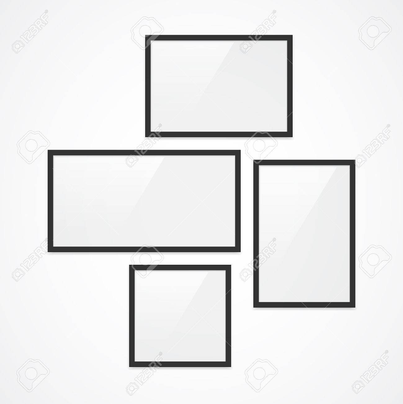 set of high quality black vector photo frames four different orientation landscape portrait