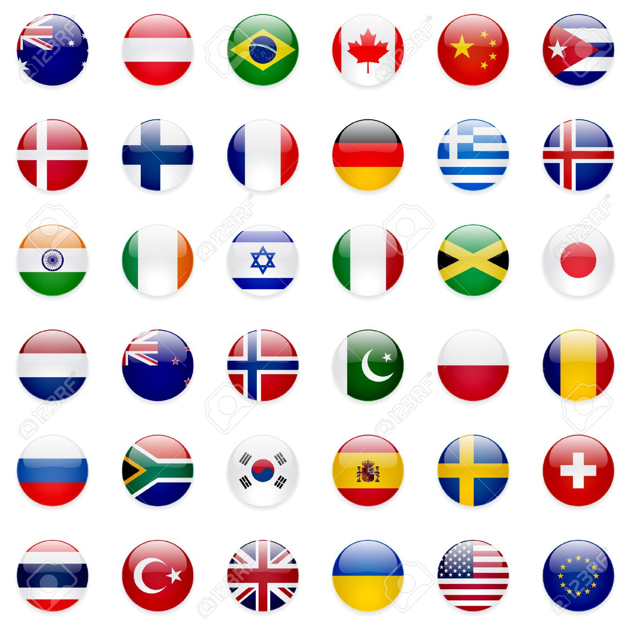 World flags vector collection. 36 high quality clean round icons. Correct color scheme. - 39644435