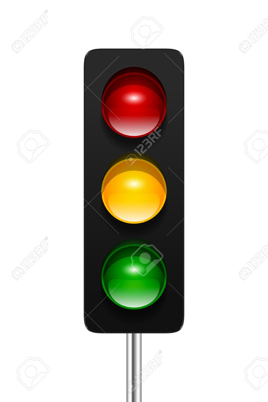 Stylish Modern Vector Traffic Signal With Three Aspects Isolated ... for Traffic Light Green Icon  570bof