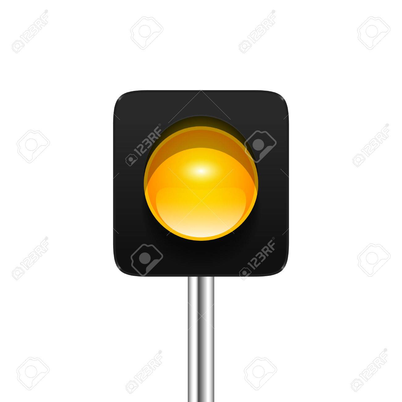 Stylish Modern Vector Yellow Single Aspect Traffic Signal Isolated ... for Traffic Light Yellow Icon  150ifm