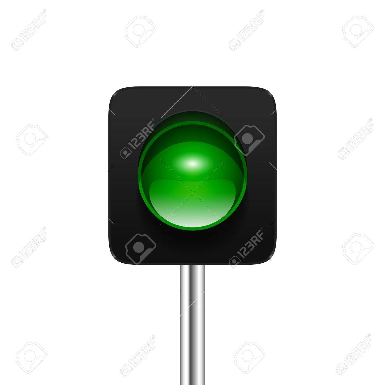 Stylish Modern Vector Green Single Aspect Traffic Signal Isolated ... for Traffic Light Green Icon  588gtk
