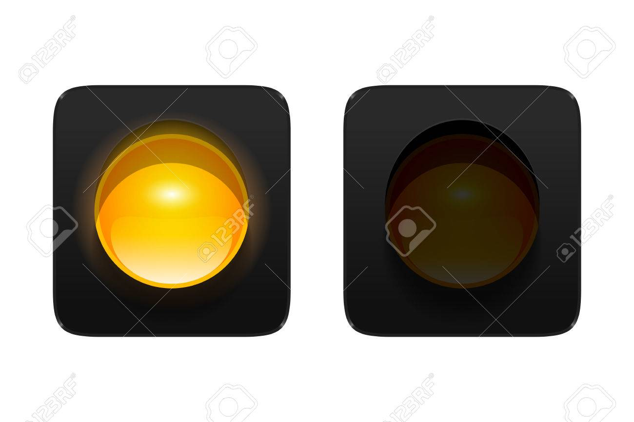 Turned On And Off Amber Traffic Signal Isolated On White ... for Traffic Light Yellow Icon  83fiz