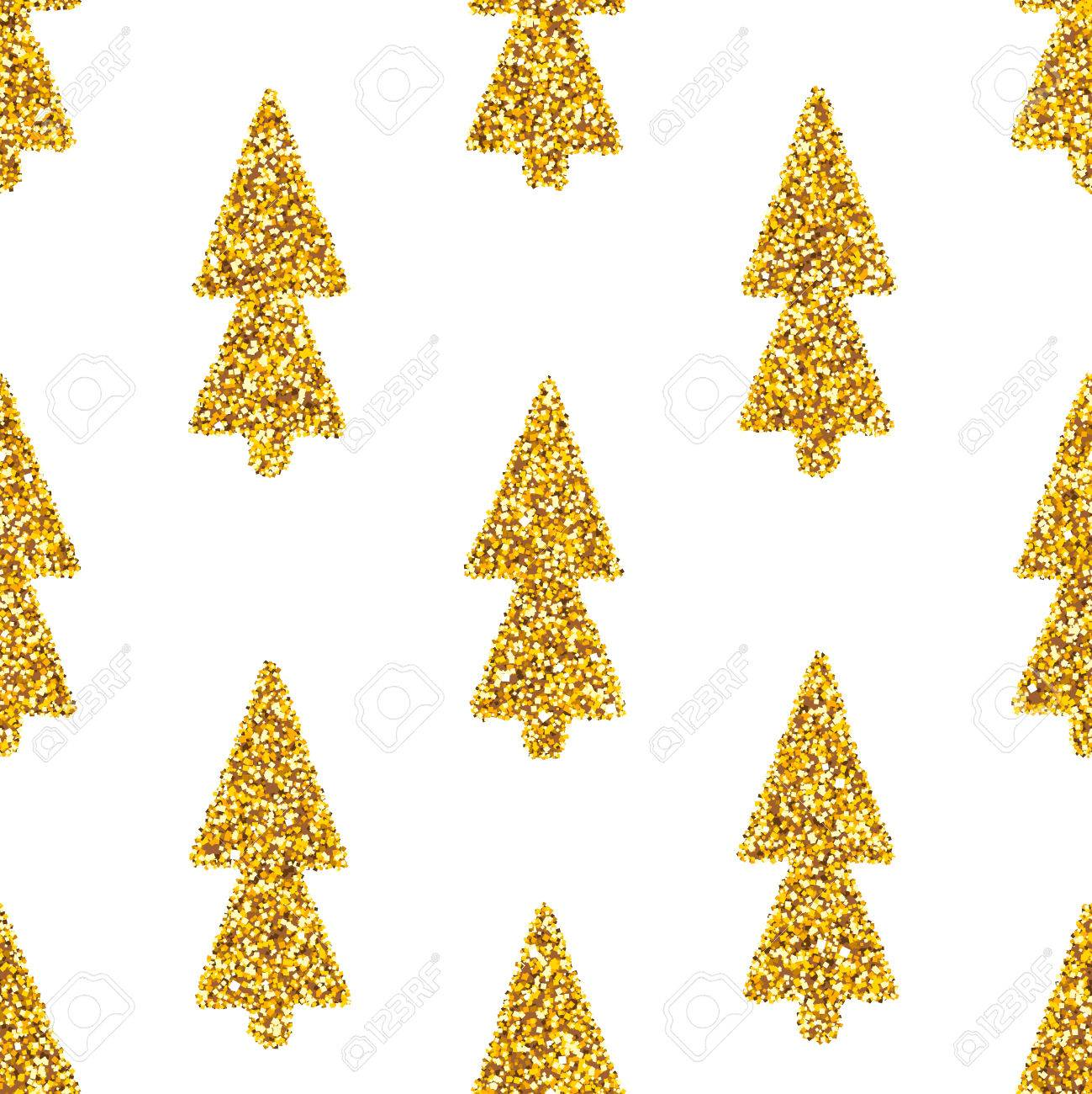 white seamless pattern with glam golden glitter christmas trees shiny gold spruce abstract background - Glitter Christmas Tree