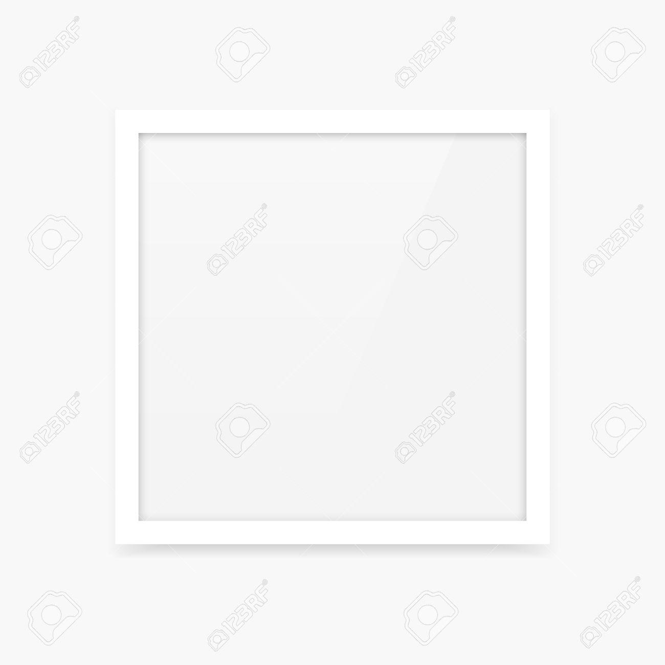 Limpio Y Sencillo Marco De Fotos Cuadrado Blanco En Blanco Vector ...