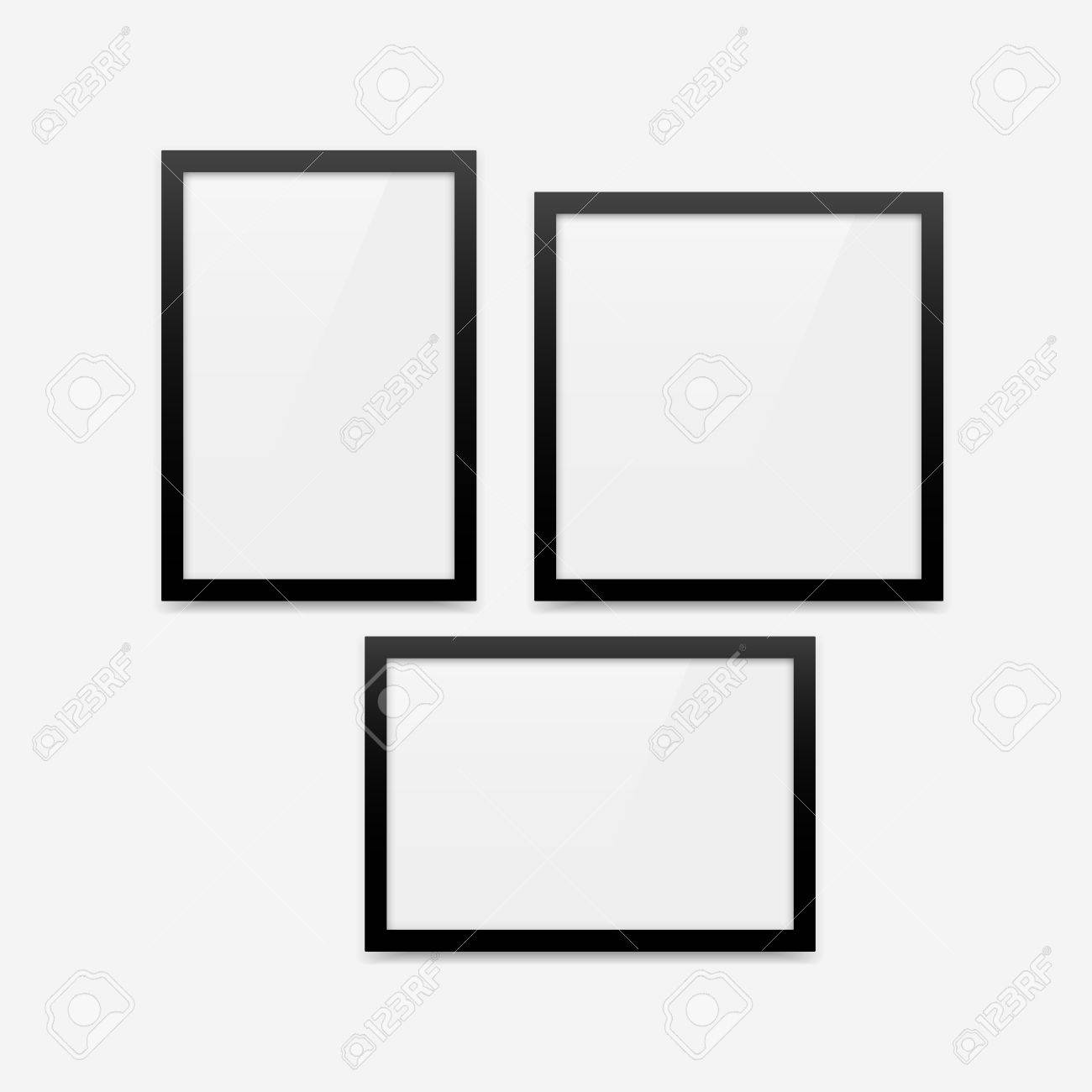 Black Minimalistic Vector Photo Frame Blank Mockups Set. Vertical ...