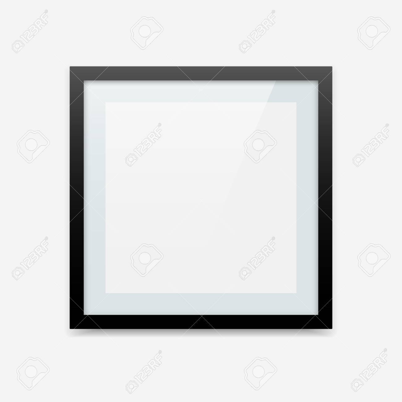 Vektor-Bilderrahmen Des Schwarzen Quadrats Mit Blauem Passepartout ...