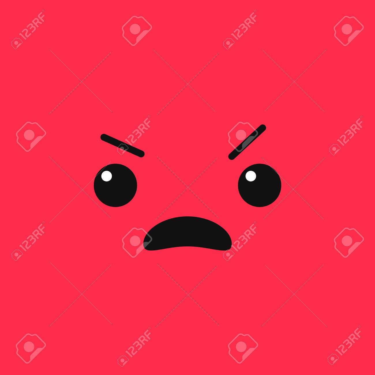 Vector evil angry mad emoji face on stylish red background