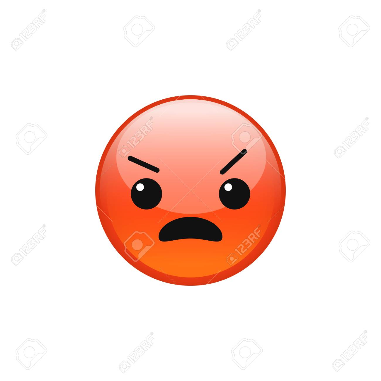 vector angry pouting grumpy mad red emoji emoticon face icon rh 123rf com mad cartoon face image mad comic face