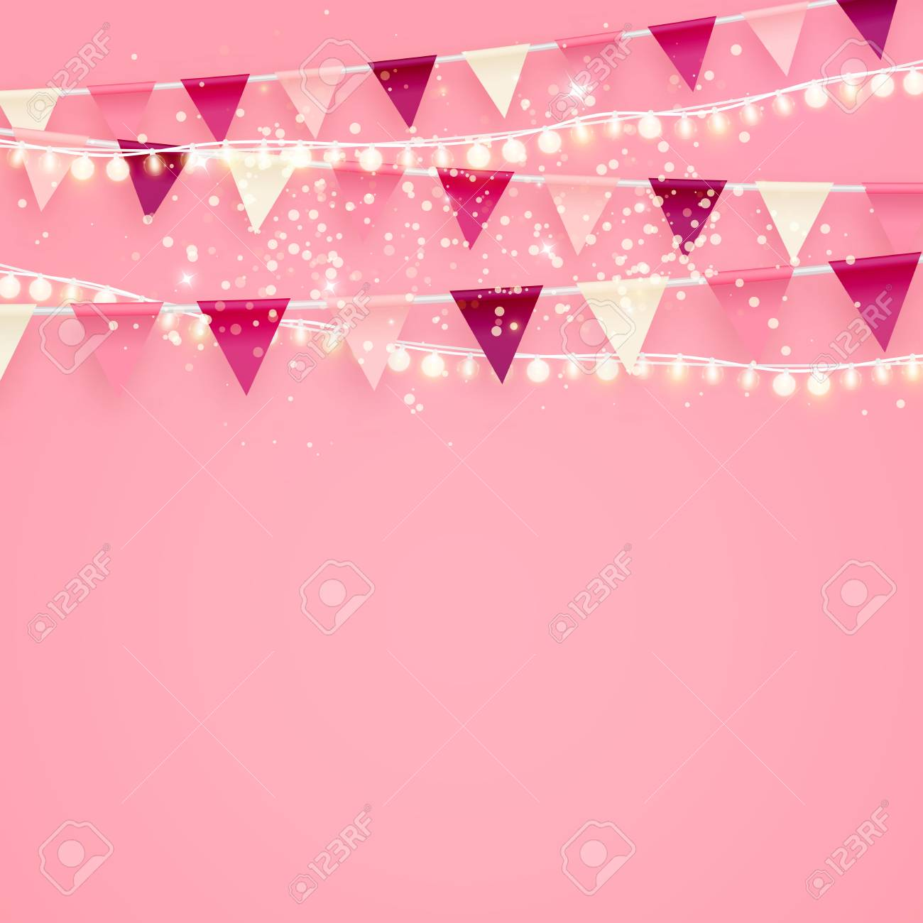 Romantic pink minimalist vector background with party flags buntings romantic pink minimalist vector background with party flags buntings and shiny festive lighting perfect for valentines stopboris Image collections