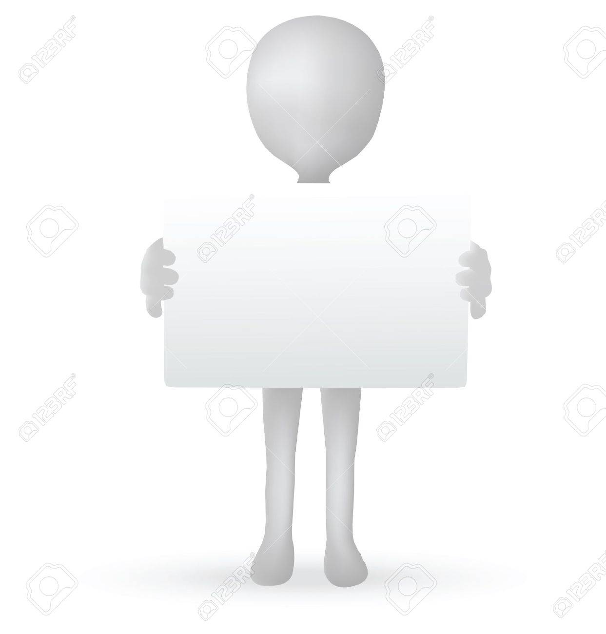 EPS Vector 10 - small 3d man hands holding a board Stock Vector - 18586639