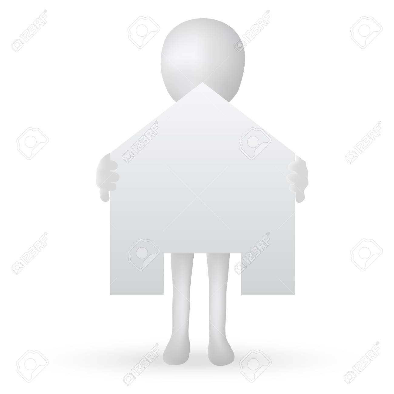 EPS Vector 10 - small 3d man hands holding a house Stock Vector - 18586641