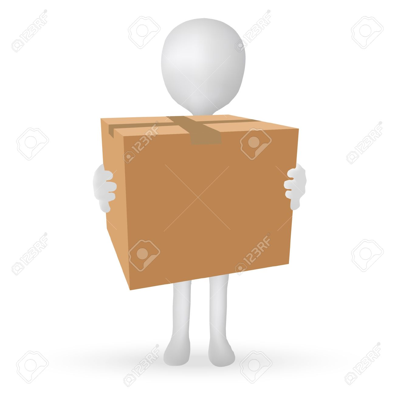 EPS Vector 10 - small 3d man hands holding a box Stock Vector - 18586807