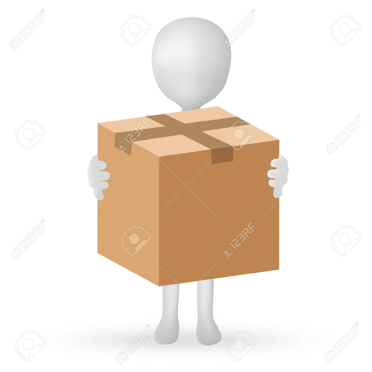 EPS Vector 10 - small 3d man hands holding a box Stock Vector - 18586810