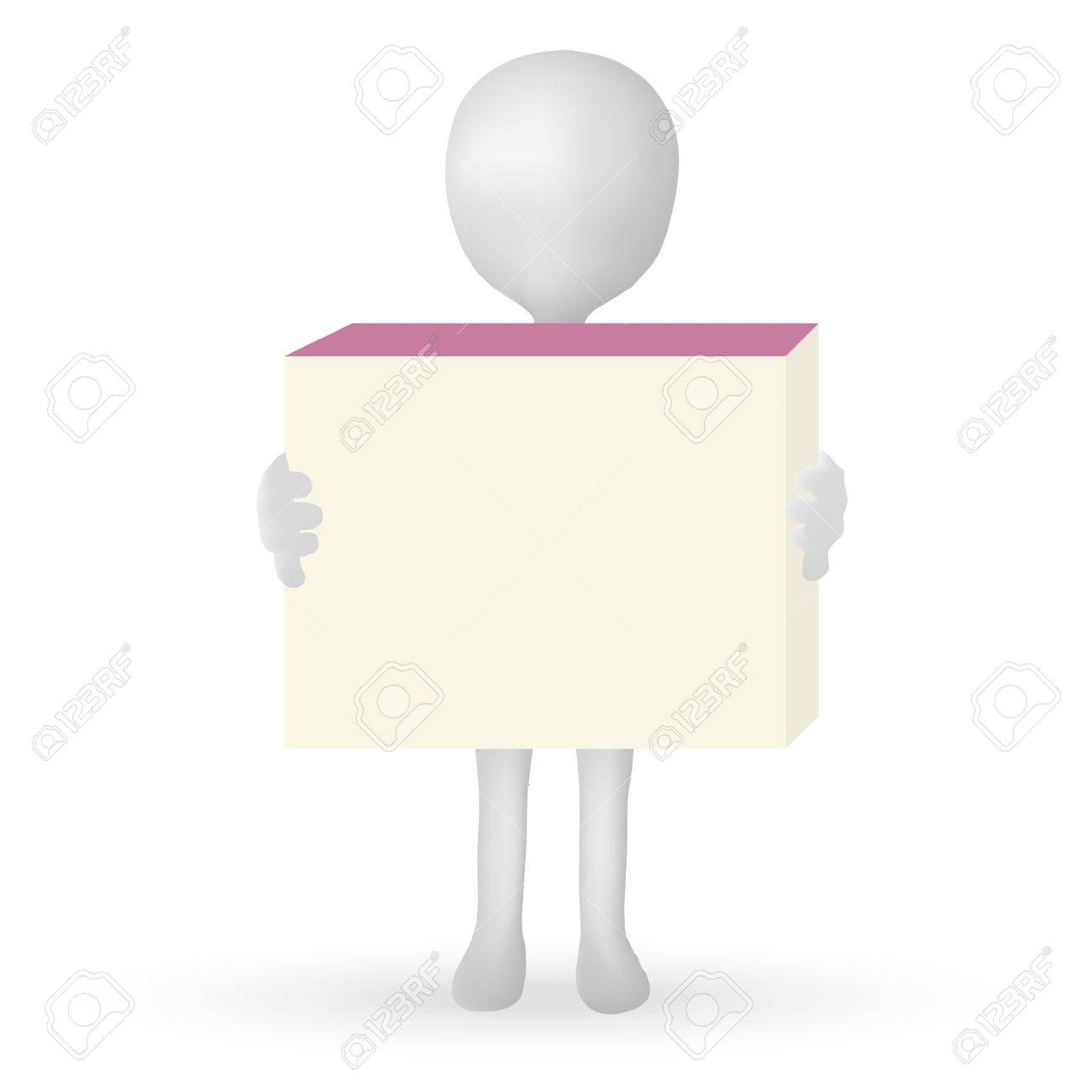 EPS Vector 10 - small 3d man hands holding a box Stock Vector - 18586646