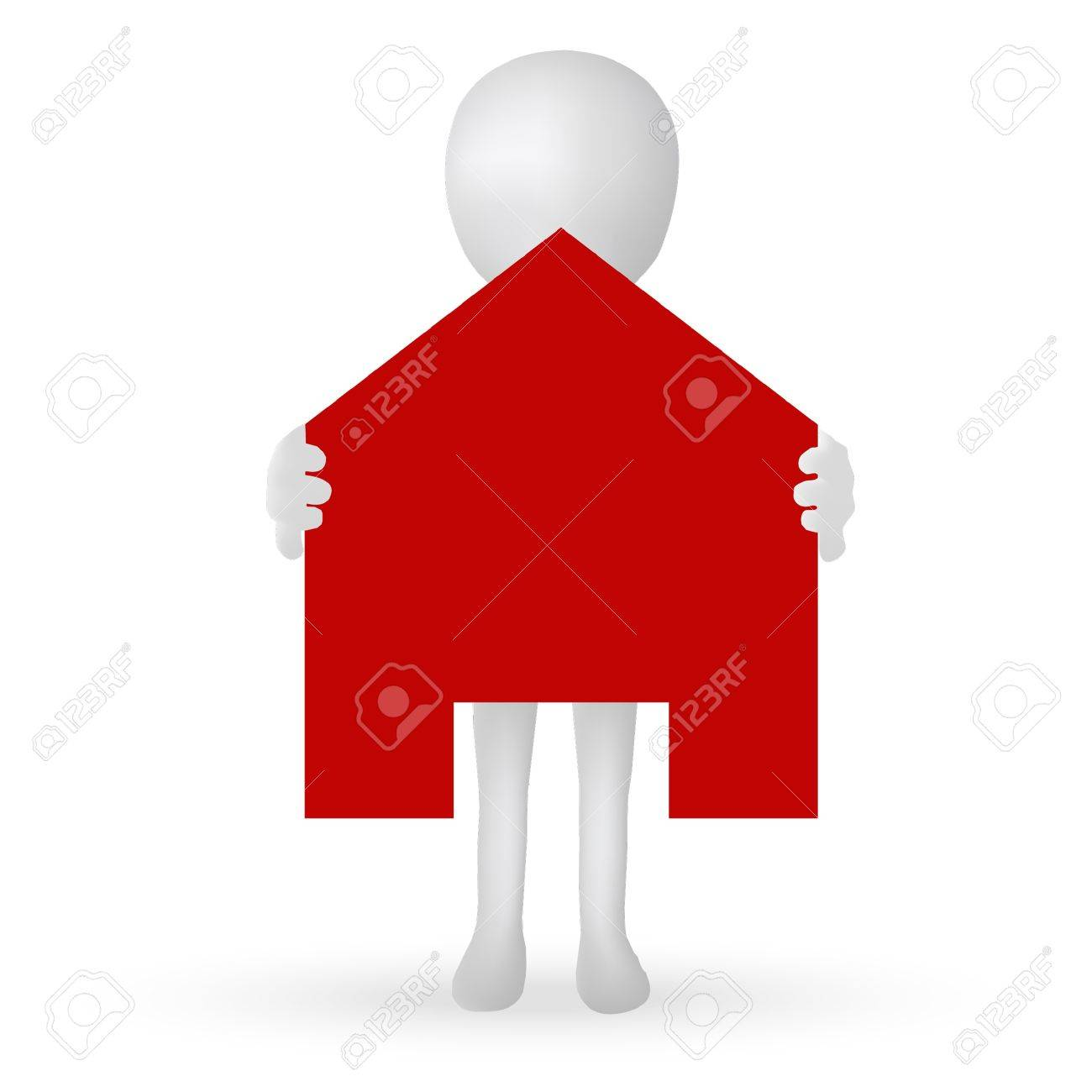 EPS Vector 10 - small 3d man hands holding a house Stock Vector - 18586640