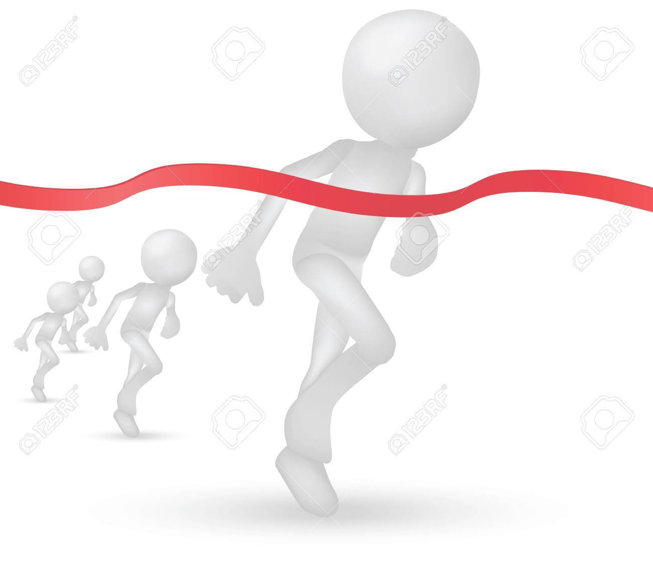 Illustration of 3d humans crossing the finishing line Stock Vector - 19505921