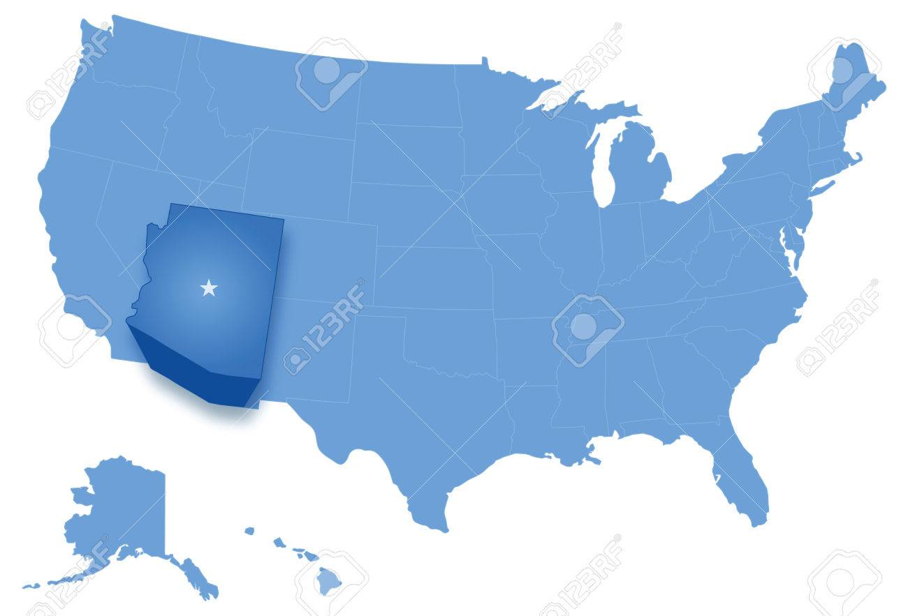 Where Is Arizona On The Us Map.Political Map Of United States With All States Where Arizona