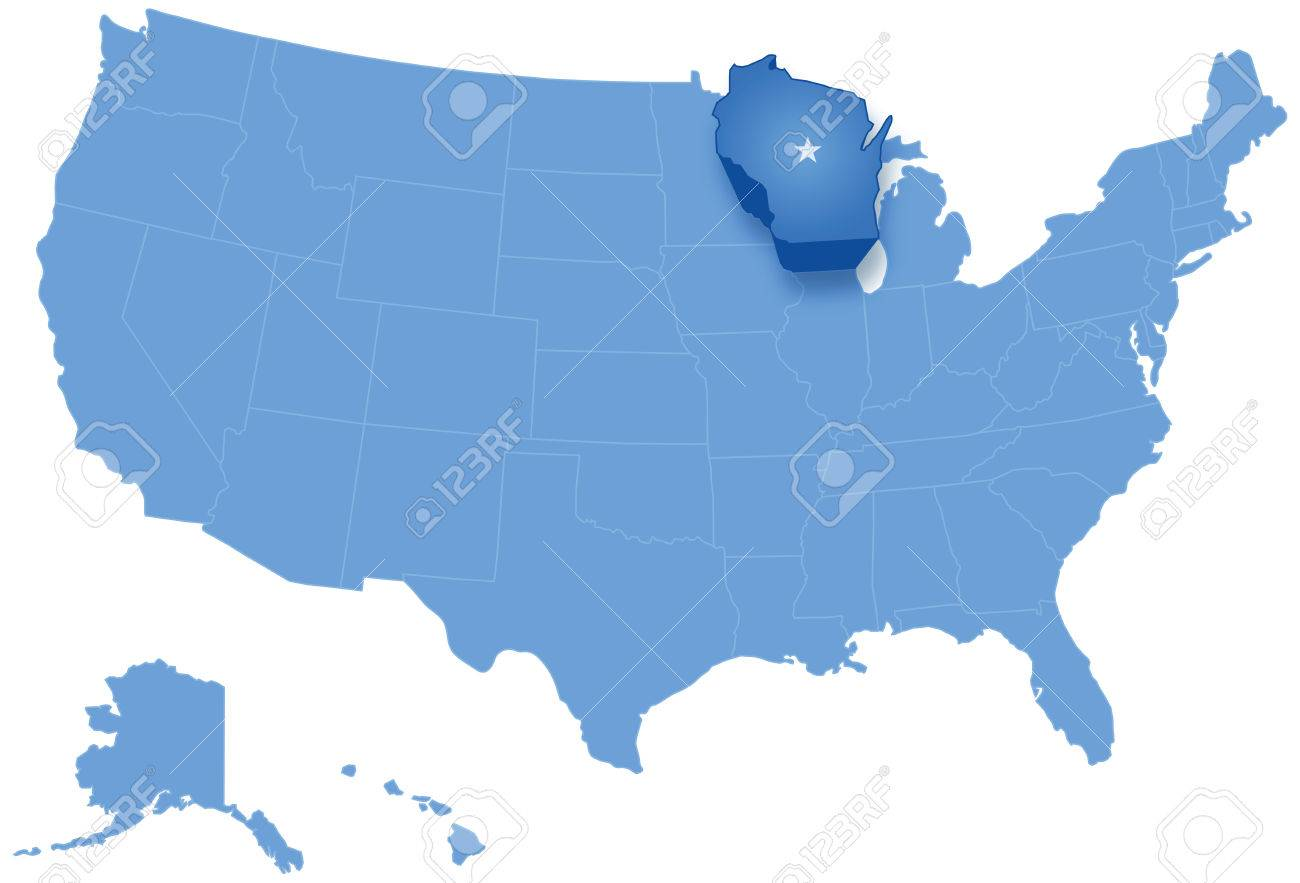 Political Map Of United States With All States Where Wisconsin