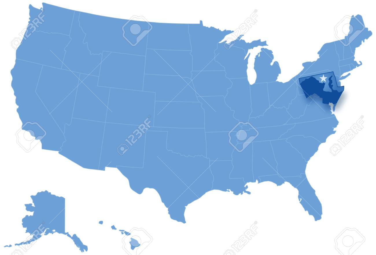 Political Map Of United States With All States Where Maryland ...