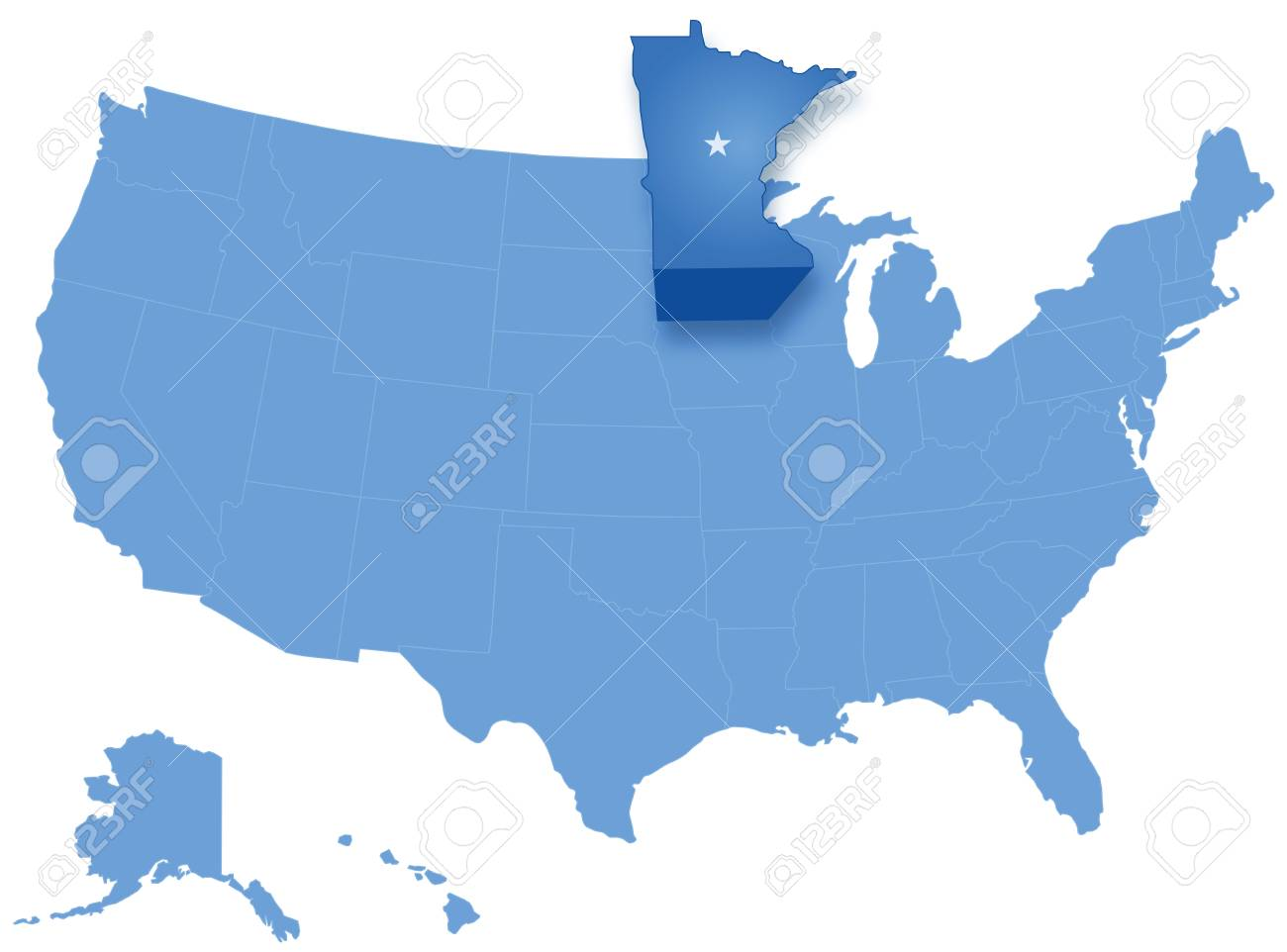 Political Map Of United States With All States Where Minnesota ...