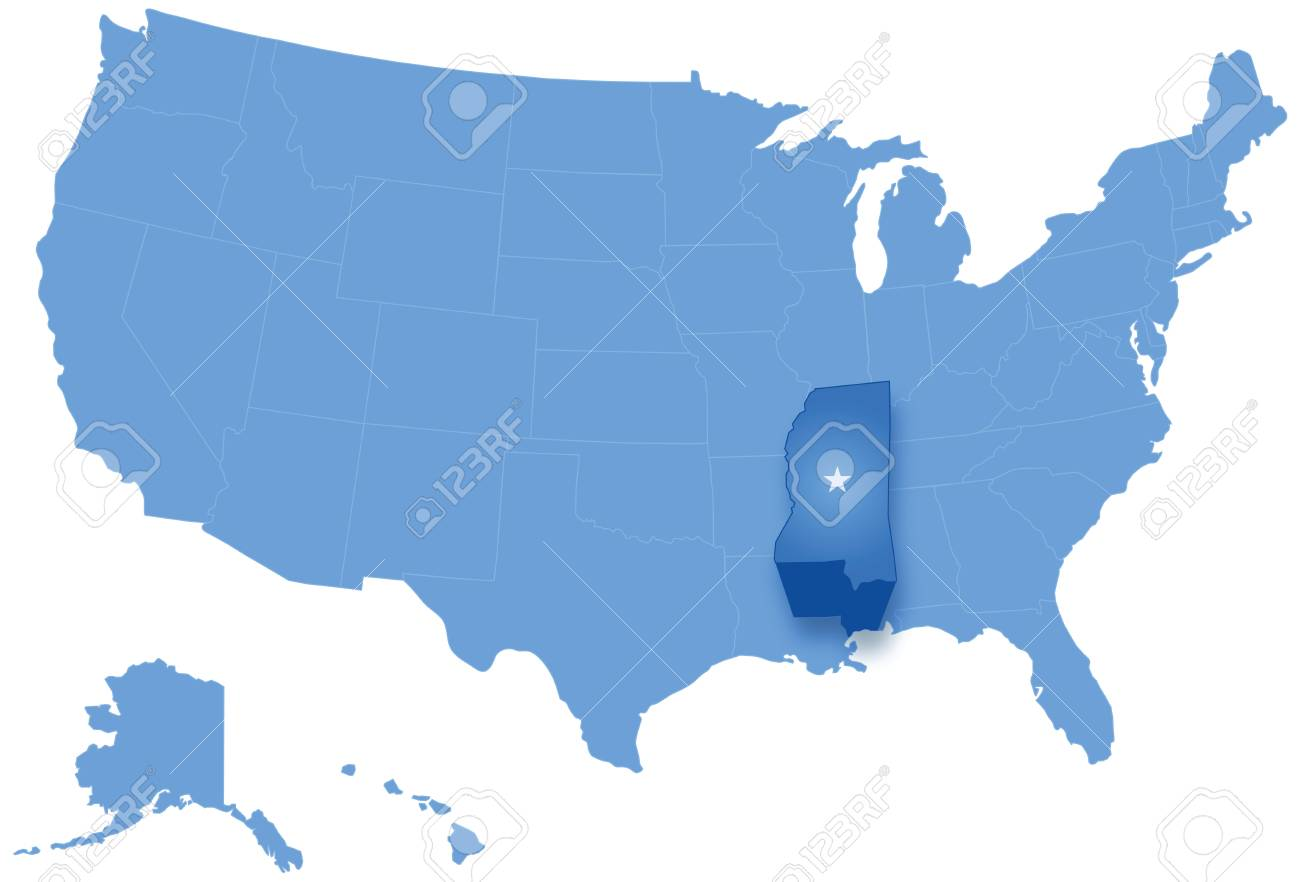 Political Map Of United States With All States Where Mississippi