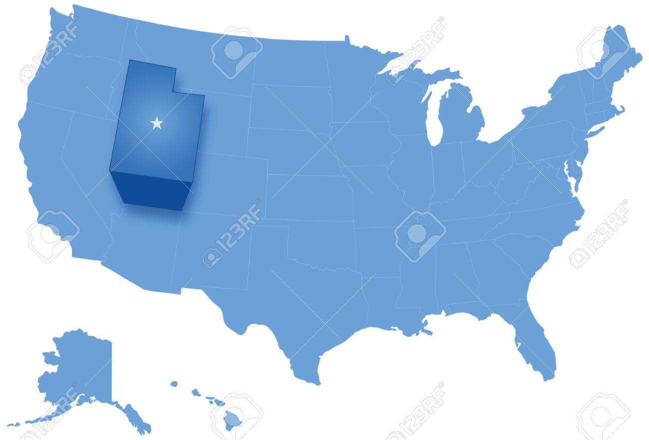 Political Map Of United States With All States Where Utah Is