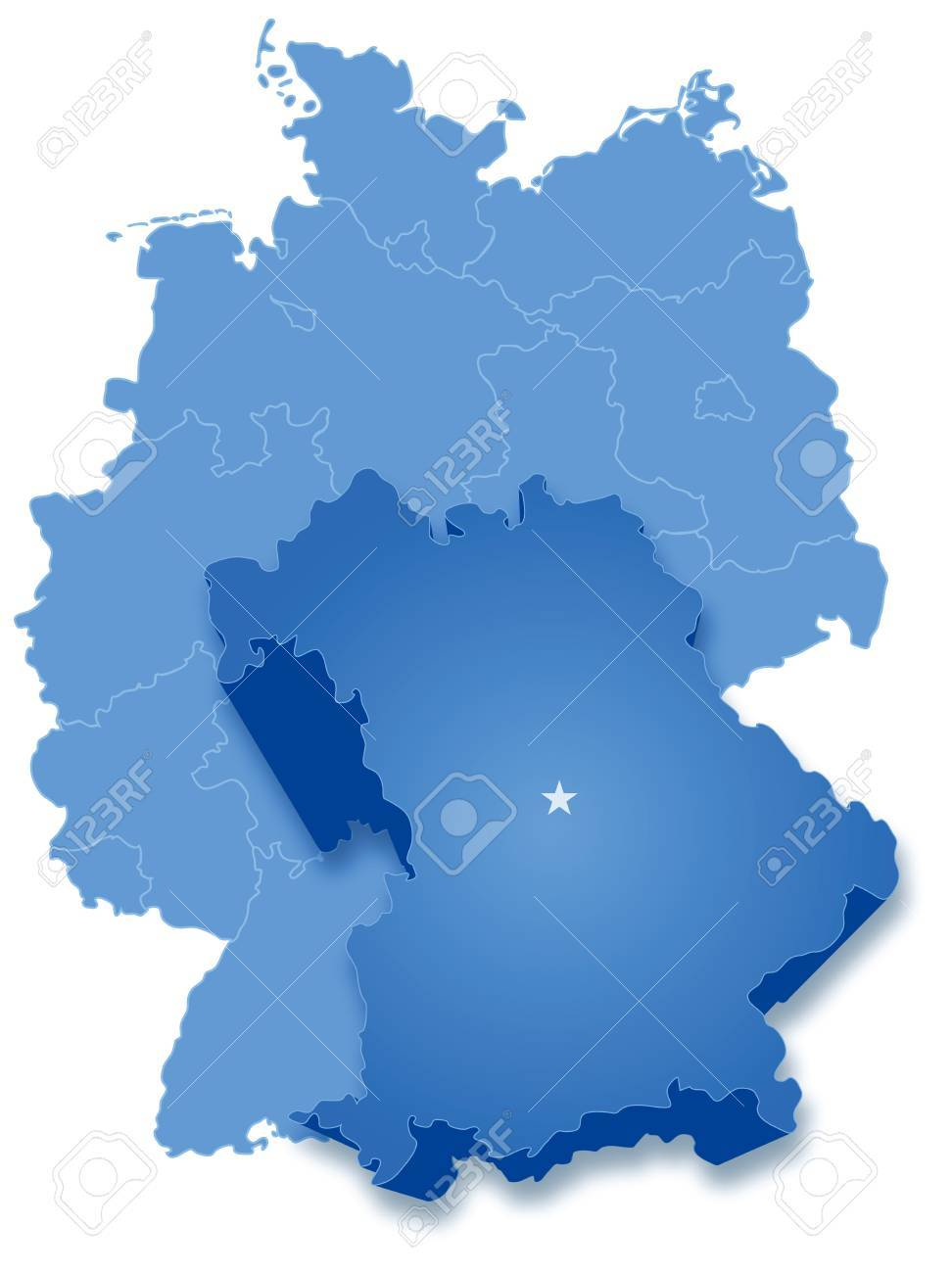 political map of germany with all states where bavaria freistaat bayern is pulled out