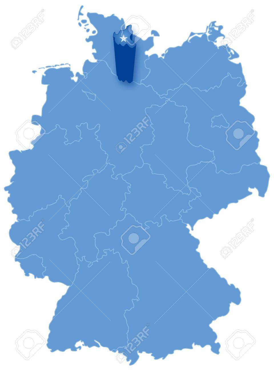 Political Map Of Germany With All States Where Hamburg Freie