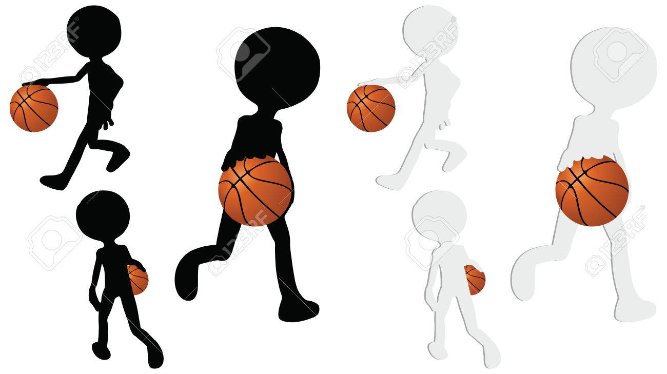 EPS 10 vector basketball players silhouette collection in dribble position Stock Vector - 24959211
