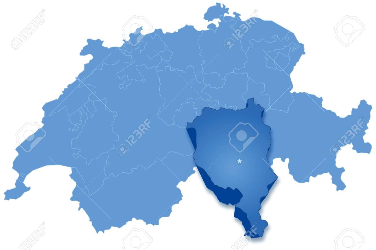 Cartina Politica Svizzera Cantoni.Vettoriale Mappa Politica Della Svizzera Con Tutti I Cantoni In Cui Il Ticino E Tirata Fuori Image 25547528
