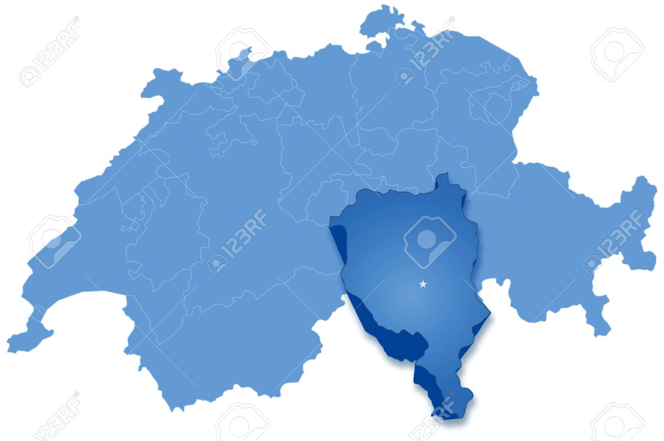 Political Map Of Switzerland With All Cantons Where Ticino Is