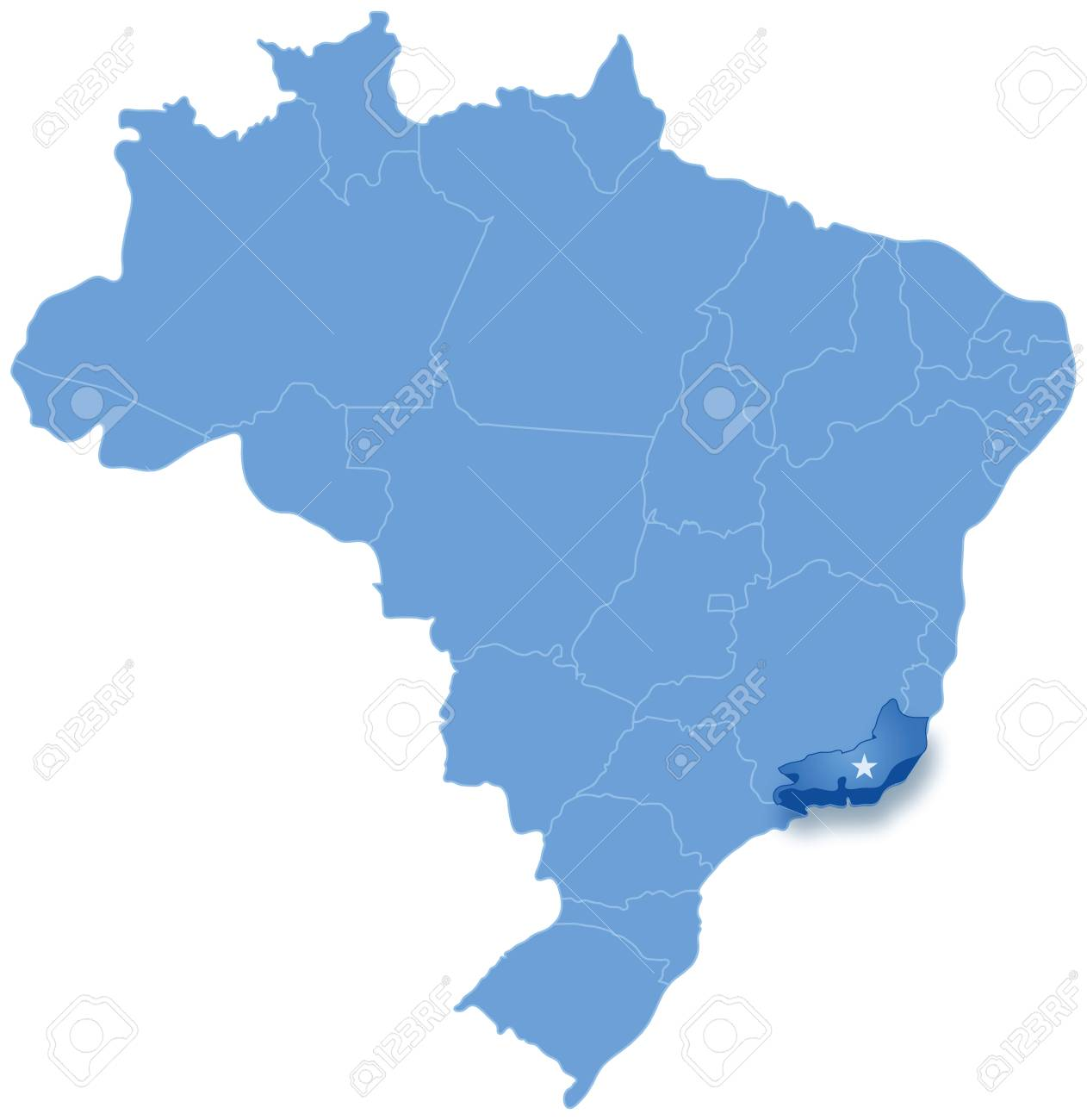 Political map of Brazil with all states where Rio de Janeiro..