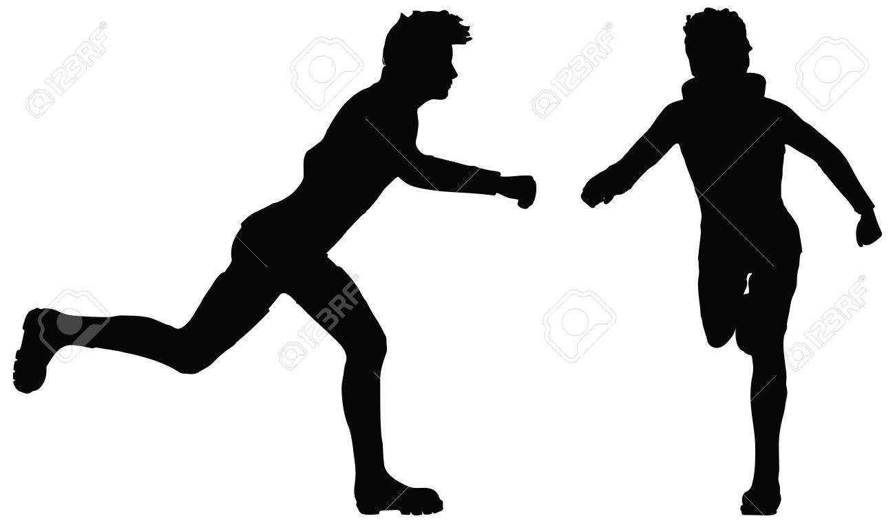 eps 10 vector of man silhouette in running position on white