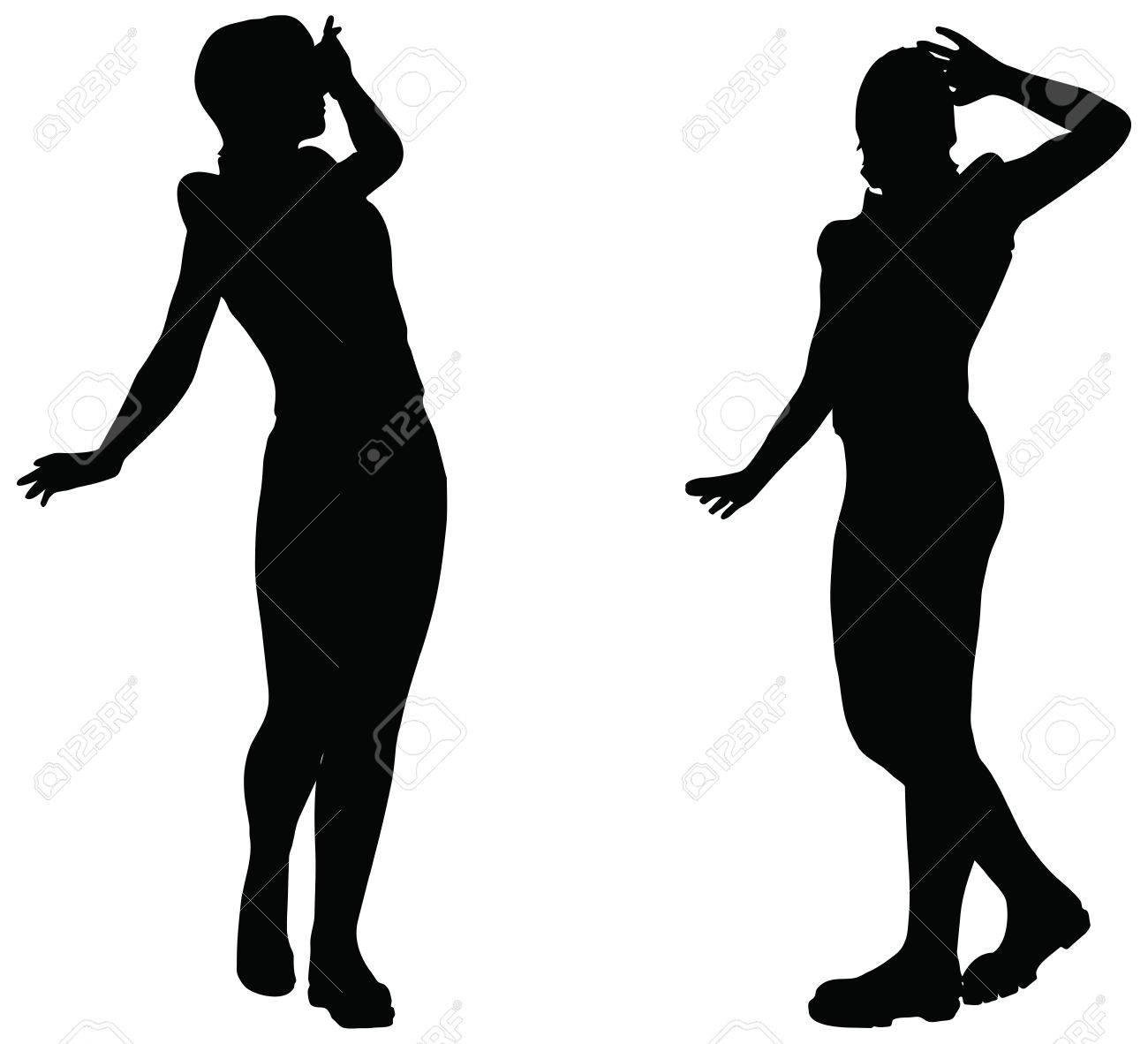 白い背景の上を見る位置に女性のシルエットの Eps 10 ベクトルのイラスト