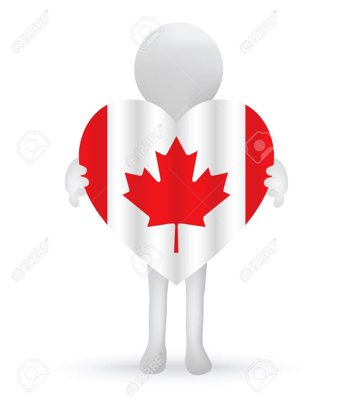 small 3d man holding a Canadian Flag Stock Vector - 29025943