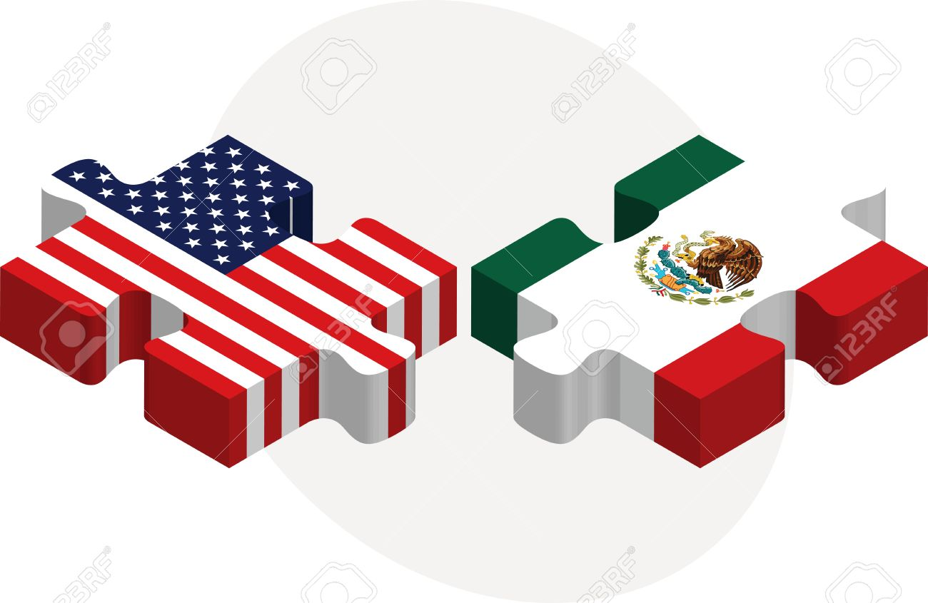 Illustration Of USA And Mexico Flags In Puzzle Isolated On White - Usa and mexico